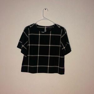 Black Plaid  crop top shirt